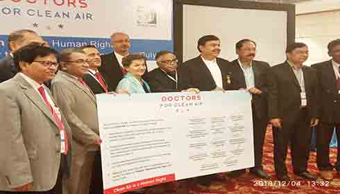 Doctors at the launch of Doctors for Clean Air forum in New Delhi